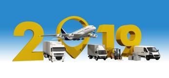 Concept mondial de transport de cargaison signe de la nouvelle année 2019 rendu 3d, photos stock