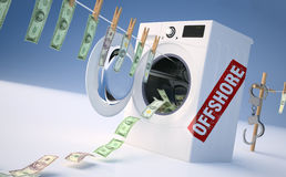 Concept of money laundering, money hanging on a rope coming out Royalty Free Stock Image