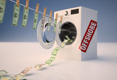 Concept of money laundering, money hanging on a rope coming out Stock Photo
