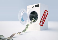 Concept of money laundering, money jump into the washing machine Stock Photography