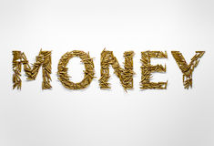 Concept of money made on war and conflicts. Word money typed wit. H font made of bullets on white background stock images
