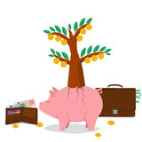 Concept money saving - pig tree. Vector concept of money saving, budget management, accounting services. Money pig with tree with coins and leaves on back. Purse Royalty Free Stock Photo