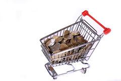 Concept of money in shopping cart. Money spending or income during shopping Stock Images