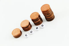 Concept of money, staggered coins Royalty Free Stock Image