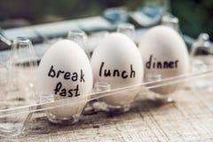 Mono-diet, egg diet, breakfast lunch dinner. Concept mono-diet, egg diet, breakfast lunch dinner Stock Photography