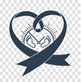 Concept of mortality  baby. Concept of mortality of premature  baby in the form  a  ribbon and small prints of the newborn`s scabbard. Icon, silhouette in linear Stock Photos