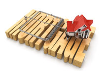 Concept of mortgage. House and mousetrap. Royalty Free Stock Photo