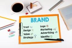 Concept, mots-clés et icônes de marque Bureau avec la papeterie Photo stock