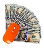 Concept mouse computer on us dollar bill Stock Image