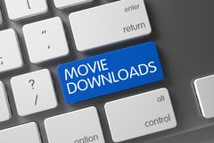 Movie Downloads Key. 3D. Concept of Movie Downloads, with Movie Downloads on Blue Enter Keypad on Computer Keyboard. 3D Illustration Stock Images