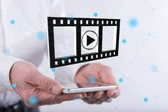 Concept of movies, video and cinema Royalty Free Stock Photos