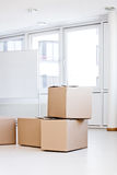 Concept moving of an office. In a white room stock photos