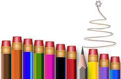 The concept of multi-colored pencils with tree Stock Photo