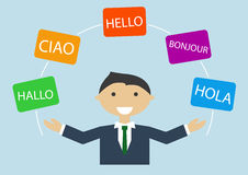 Concept of multi-lingual business man speaking many different languages Royalty Free Stock Photos