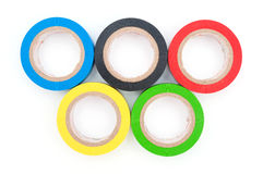 Concept multicolored insulating tapes as Olympic rings. On white background Stock Image