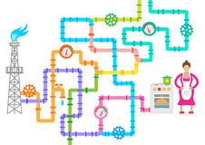 Concept multicolored pipelines with valves and counters. Stock Photos