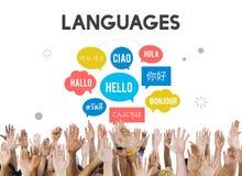 Concept multilingue de langues de salutations image stock