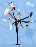 Concept of multitasking businessman Royalty Free Stock Photography