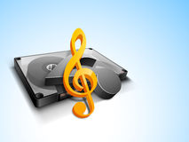 Concept of music with cassette and 3D musical sign. Royalty Free Stock Image