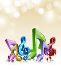 Concept of music with 3D musical notes. Royalty Free Stock Image