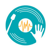 Concept  music dj. In the form of plate and hand. Icon in the linear style Stock Photography