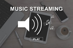 Concept of music streaming. Music streaming concept illustrated by a picture on background royalty free illustration