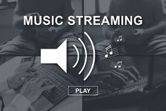 Concept of music streaming. Music streaming concept illustrated by pictures on background vector illustration