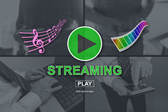 Concept of music and video streaming. Music and video streaming concept illustrated by pictures on background royalty free illustration