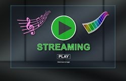 Concept of music and video streaming. Music and video streaming concept on dark background vector illustration