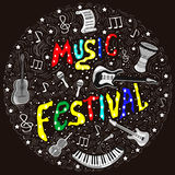The concept of a musical abstract poster of musical elements and instruments. Bright colorful musical instruments with elements of the lettering vector illustration