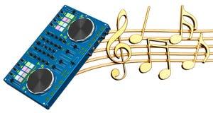 Concept musical Console du DJ avec des notes de musique, rendu 3d Image libre de droits
