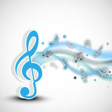 Concept of musical notes with blue waves. Stock Photos