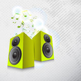 Concept of musical notes with loud speakers. Stock Photos