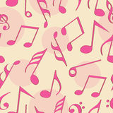 Concept of musical notes in pink color. Musical notes in pink color on seamless background Stock Photo
