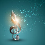Concept of musical notes with treble clef. Stock Image