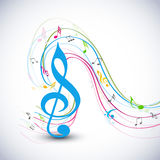 Concept of musical notes with waves. Royalty Free Stock Image