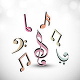 Concept of musical sign in different color. Royalty Free Stock Photos