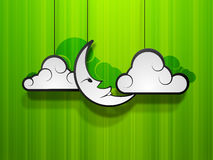 Concept for Muslim community holy festival Eid Mubarak. Moon with clouds on green abstract background, concept for Muslim community holy festival Eid Mubarak Royalty Free Stock Image