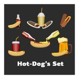 Concept of National Hot Dog Day. Vector Stock Photo