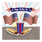 Concept of National Hot Dog Day. Vector Royalty Free Stock Photo