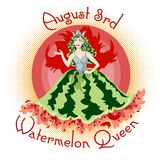 Concept for the National Watermelon Day, picture postcard with watermelon queen vector illustration
