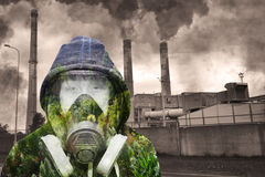 Concept of nature against industrial pollution Royalty Free Stock Image