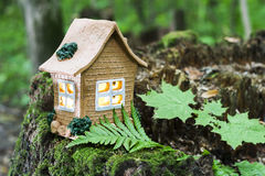 The concept of nature, green forest. Clay House on a wooden stump with leaves. Royalty Free Stock Photo