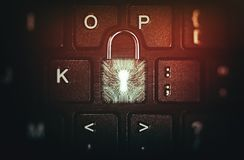 Concept netwerkbeveiliging, virusbescherming, gegevensbescherming stock afbeelding