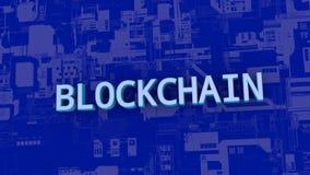 Concept netwerktechnologie blockchain De brieven zijn gedrukt van nul en degenen stock videobeelden