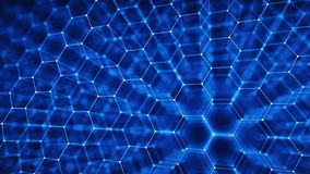 Concept of Network, internet communication - 3d hexagonal grid background. 3d illustration Stock Image