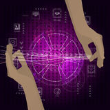 The concept of a network of internet hands stock illustration