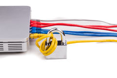 Concept of network security with padlock over router cable Royalty Free Stock Photo