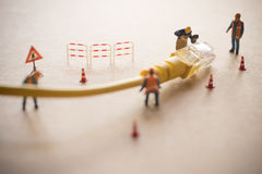 Concept of network troubleshoot supporter or administrator. Internet connection support team fixing LAN cable Royalty Free Stock Photography