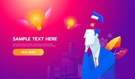 Concept neuf d'idée Ampoule volante de cerveau d'homme d'affaires, la meilleure icône de vecteur de conception plate illustration libre de droits